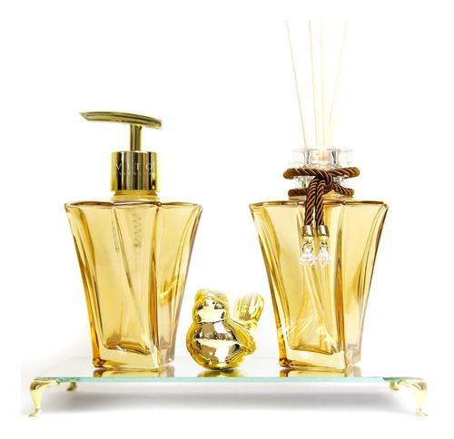 Kit Lavabo Luxo Saboneteira Difusor Bandeja Dourado Elegance Original