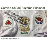 Camisa Sistema Prisional - SAUDE - BRANCA - Bordada