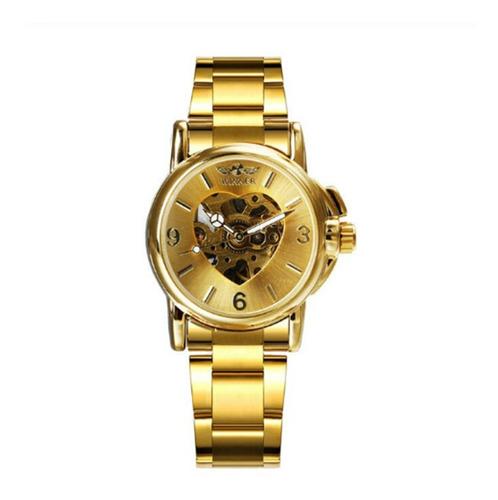 Relógio Winner Inox Mecânico Automático Coração Esqueleto Original