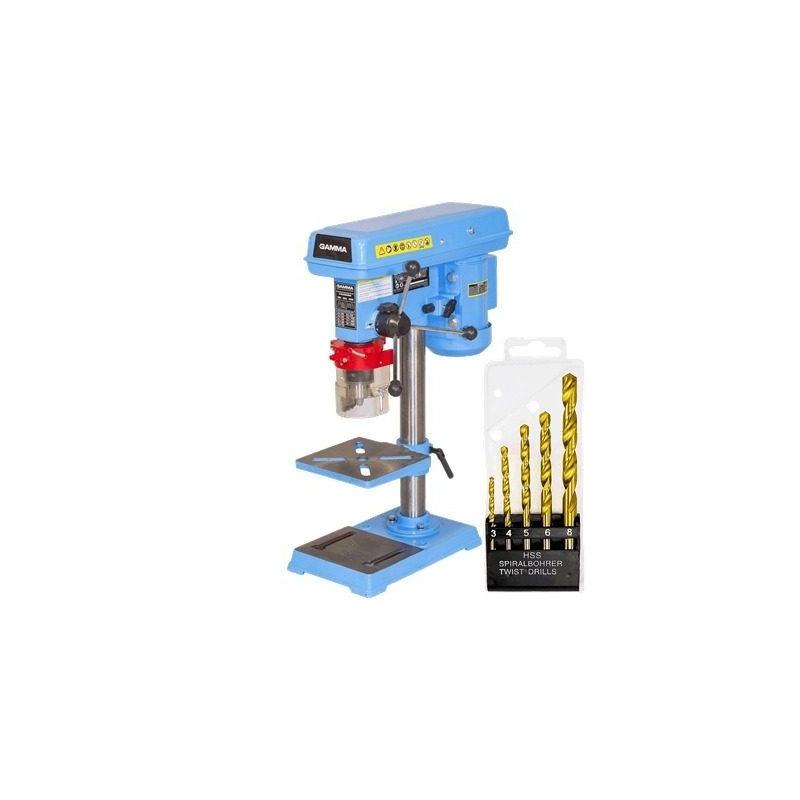 Kit Furadeira de Bancada 500W 16mm G2321BR1 - Gamma Ferramentas - 110 Volts + Jogo de 5 Brocas para Metal 3, 4, 5, 6 e 8mm - MTX