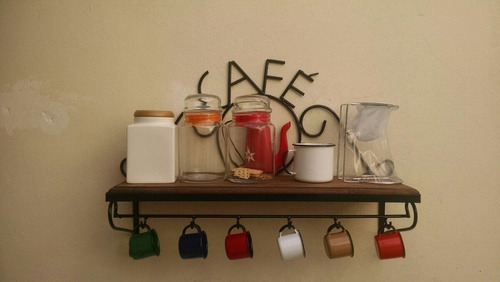 Prateleira Rústica Café+ 6 Xícaras Ágata/oferta/barato