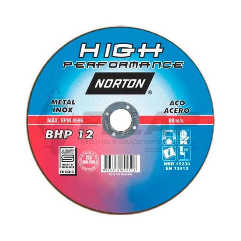 Disco de Corte BHP12 Norton 115 x 1,6 x 22,23 mm