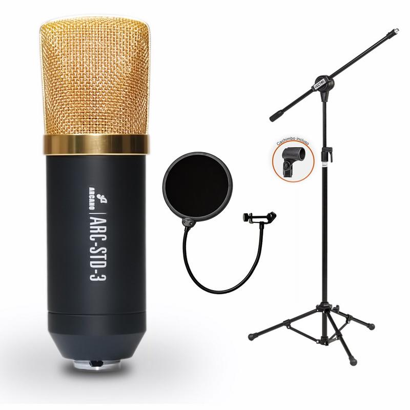 Kit P/ Estúdio Arcano Microfone Std3 + Pop Filter + Pedestal