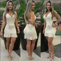 5a01cc41b93e Comprar Vestidos Femininos Renda Panicat Curto Rodado Babado Peplum
