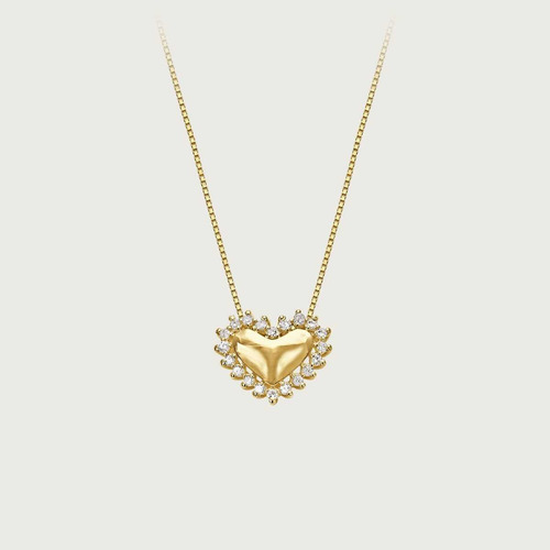 Gargantilha Coração Em Ouro 18k Com Diamantes Original