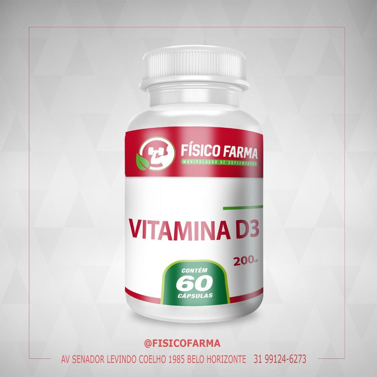 Vitamina D3 -  (200UI) - 60 cáps