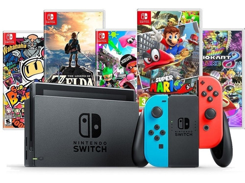 Nintendo Switch Neon + 1 Jogo + Pelic Vidro - Pode Retirar Original
