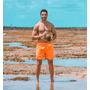 Kit 10 Shorts Neon Laranja Praia Fluorecente