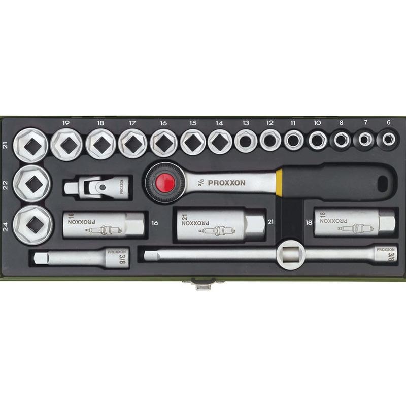 Jogo compacto com chaves de 3/8 para soquete de 6-24mm  24 Peças - 23110 - Proxxon