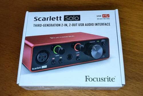 Interface De Áudio Focusrite Solo Scarlett 3ª Geração Zerada Original