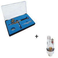 Aerografo dupla ação copo fixo bico 0,3 mod w030f + mini filtro de ar