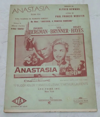 Partitura Antiga - Anastasia - Alfred Newman - Paul Francis Original