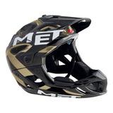 Capacete Bike Full Face Enduro Met Parachute Preto/Dourado