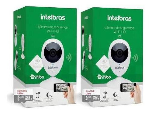 Câmera Ip Intelbras Ic3 Mibo Wifi C/ Cartão 32gb Kit 2un Original