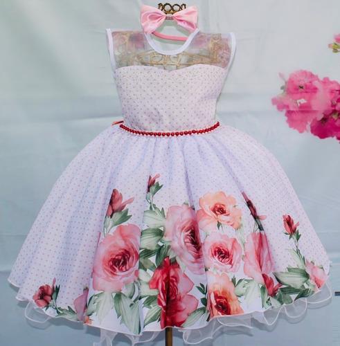 Vestido Festa Infantil Floral Rosa Jardim Encantado E Tiara Original