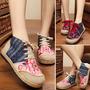Mulheres Vintage Algodão Linho Sapatos Bordado Cor Contraste