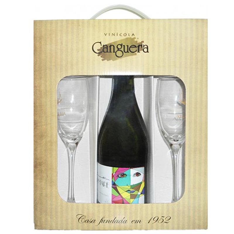 Kit Prosseco Frisante + 2 Taças + Embalagem p/ Presente - Canguera