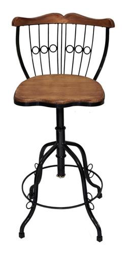 Cadeira Banqueta Alta Regulável E Giratória Ferro Madeira Original
