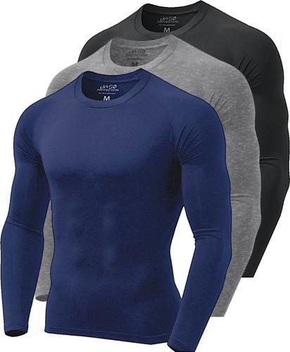 Kit 3 Camisetas Térmicas Masculina Segunda Pele Camisa Uv 50 Original