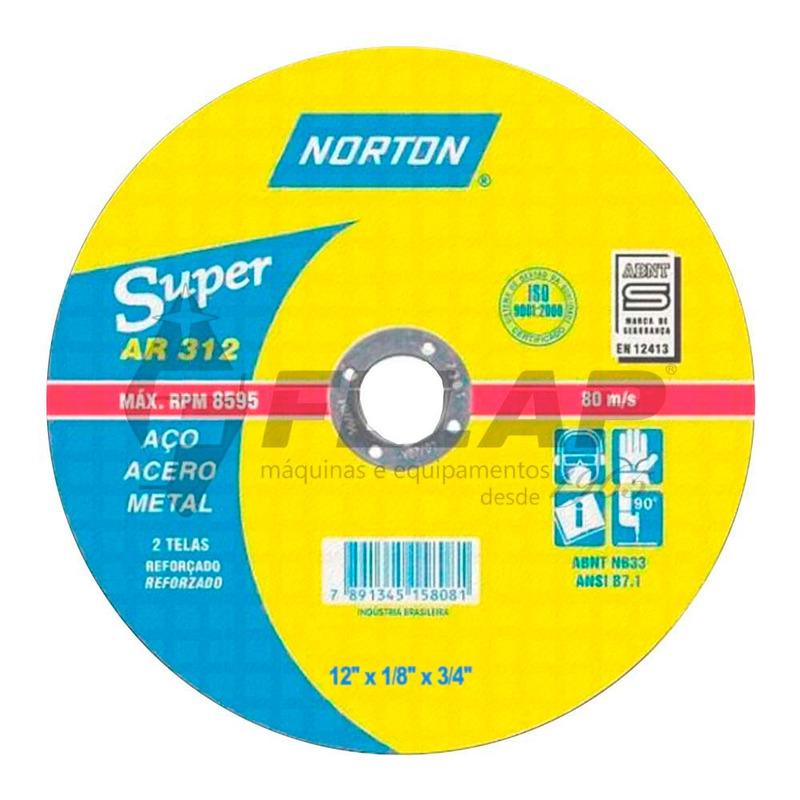 """Disco de Corte AR312 Norton 12"""" x 1/8"""" x 3/4"""""""