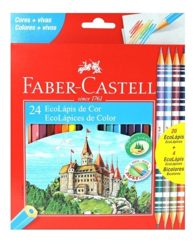 Lápis De Cor Faber-castell 24 Cores E 4 Lápis Bicolor Original