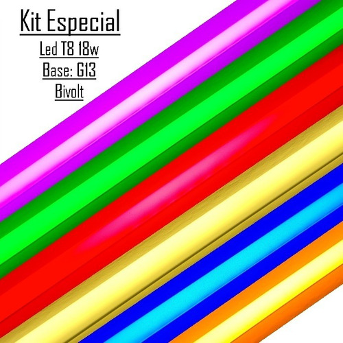 Lâmpada Tubo Led T8 18w G13 Colorida Cores Kit Com 7 Peças Original