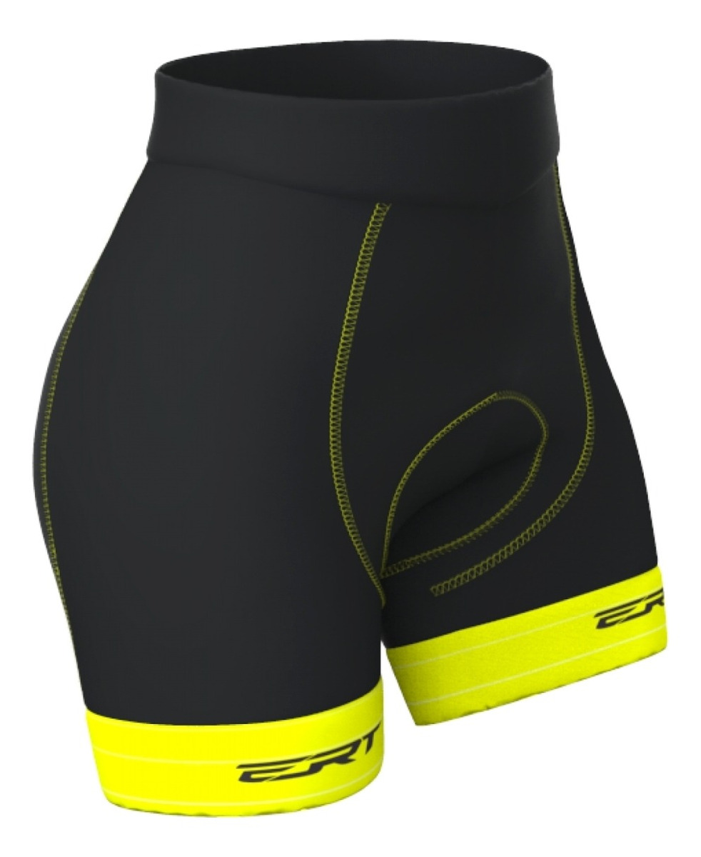 Bermuda Ciclismo Feminino Mtb Ert Forro Dual Pro Amarelo