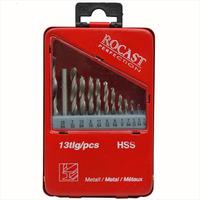 Jogo de brocas aço rápido com 13 peças 1/16''-1/4''. D-Rocast