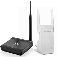 Kit Roteador Wireless 150 Mbps Com Antena e Repetidor de Sinal 300 Mpbs Com Antena Multilaser