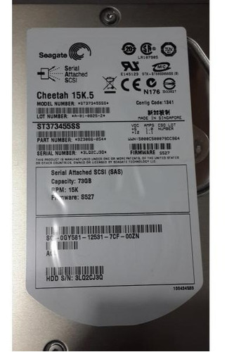 Hd Seagate 73gb 15k.5 Sas 3,5 St373455ss 9z3066-054 0gy581 Original