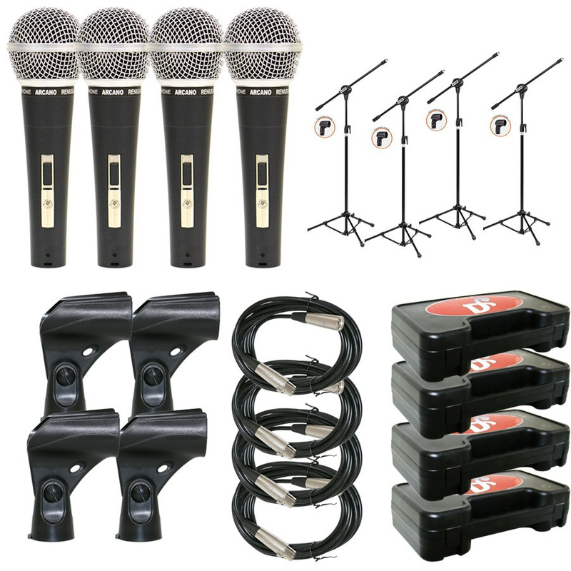 Kit Arcano Com 4 Renius-8 (xlr-xlr) + 4 Pedestais Vector