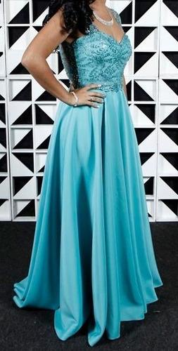 Vestido De Gala Azul Tiffany / Usado Apenas 1 Vez Original