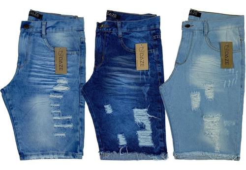 Kt 3 Bermudas  Shorts Jeans Rasgada Desfiada Lançamento 2019 Original