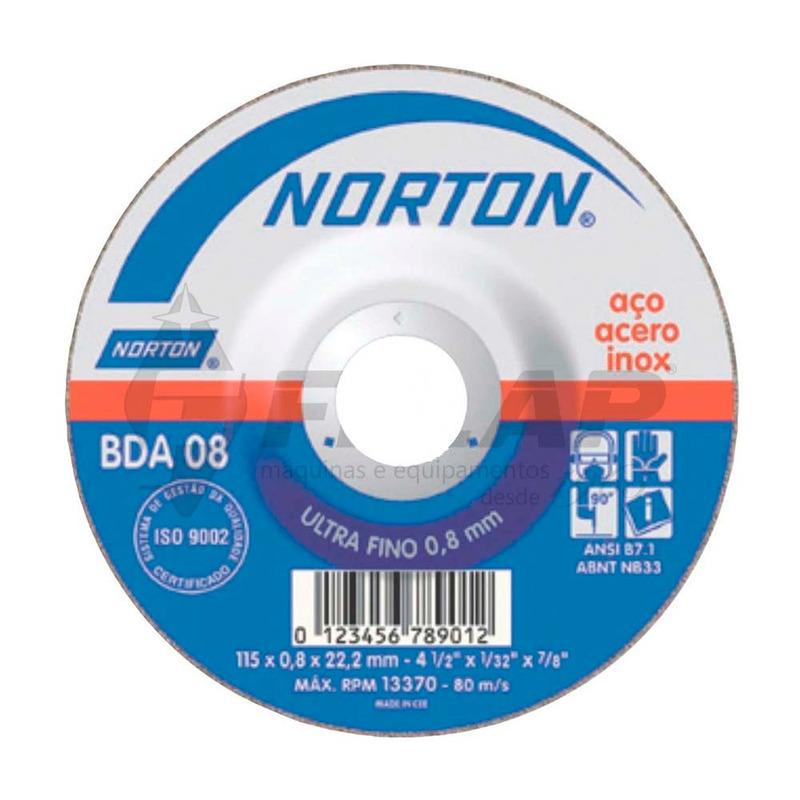 Disco de Corte BDA08 Norton 115,0 x 0,8 x 22,23 mm