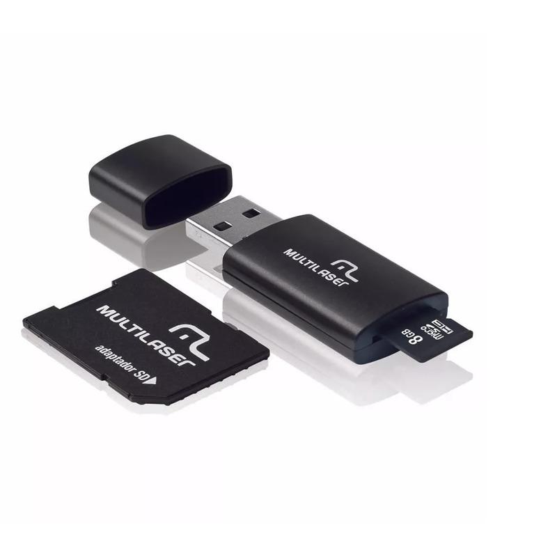 Cartão de Memória 8GB com Adaptador para Pen Drive e SD - MC058