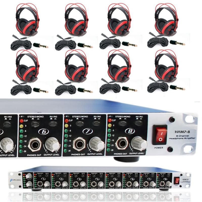 Kit Retorno De Palco 8 Pro Hamp-8 + 8 Fones Arc-shp20