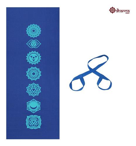Tapete Yoga Azul Estampa 7 Chakras 4mm + Alça De Brinde