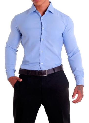 Camisa Social Masculina Slim Fit Sem Bolso Luxo Estilo Original