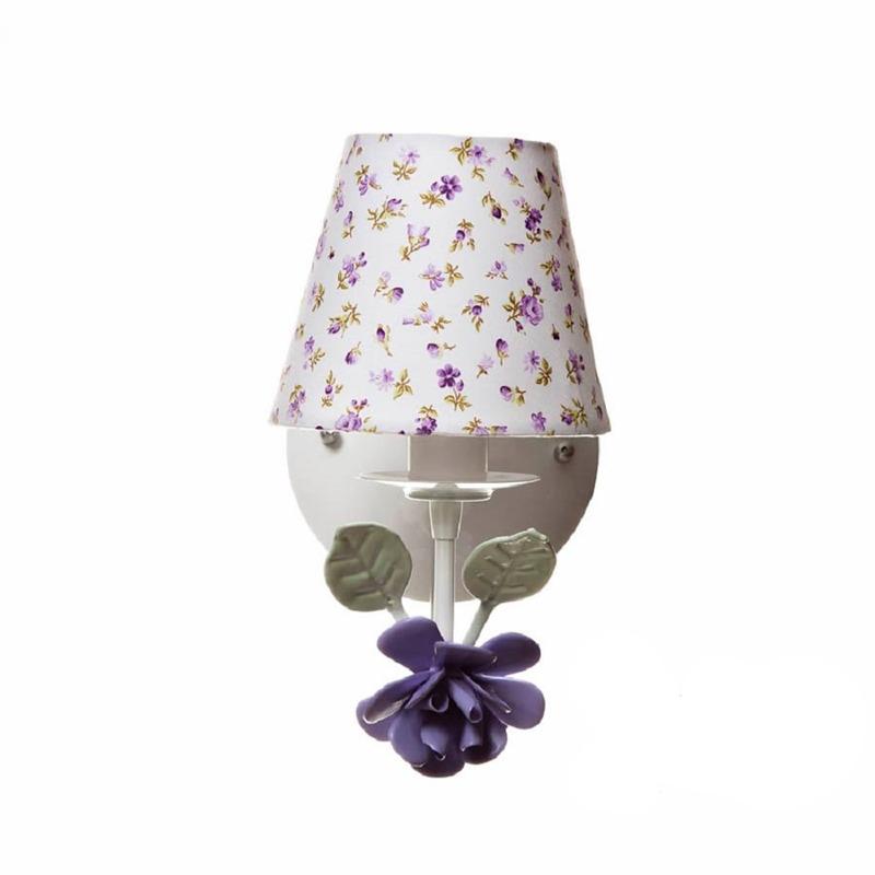 Arandela 1 Lampada Flor Grande Lilas