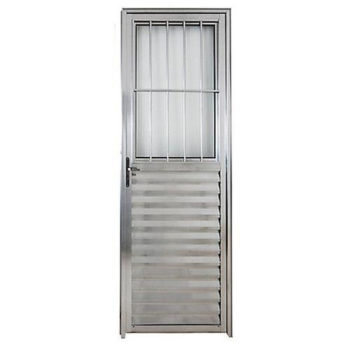 Porta De Alumínio Brilhante Social 2,10a X0,80l Lado Direito