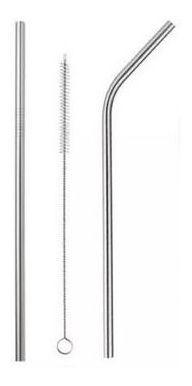 Kit 2 Canudos Em Inox Reutilizaveis Com Escova 26x0,5cm Original