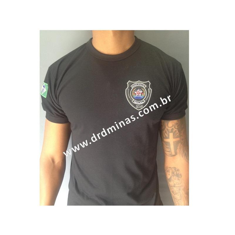 Camisa Polícia Penal - SEAP - Bordada Preta 1
