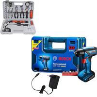 Kit - Parafusadeira e Furadeira á Bateria 12v + Maleta + Kit Ferramentas Manuais Hobby com 100 Peças