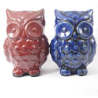 Corujas em cerâmica para decoração - Vermelho e Azul