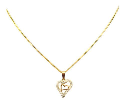 Colar Corrente Pingente Coração Mini Zircônia Folheado Ouro Original