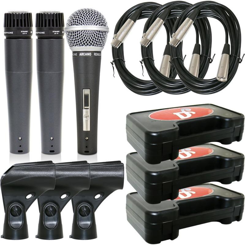 Kit Microfone Arcano 2 Renius-8 + 1 Renius-7 Cabo Xlr-xlr