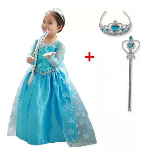 Vestido De Princesa Infantil Frozen Elsa + Lindos Acessórios Original