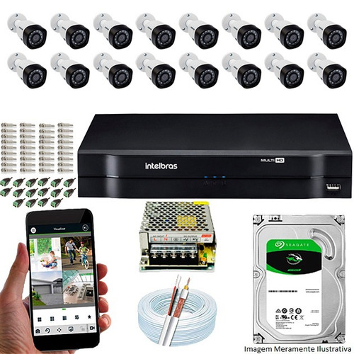 Kit Cftv 16 Câmeras Intelbras G4 Multi Hd 720p Dvr Mhdx 1116