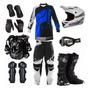 Calça Camisa Colete Bota Capacete Proteção Motocross Trilha