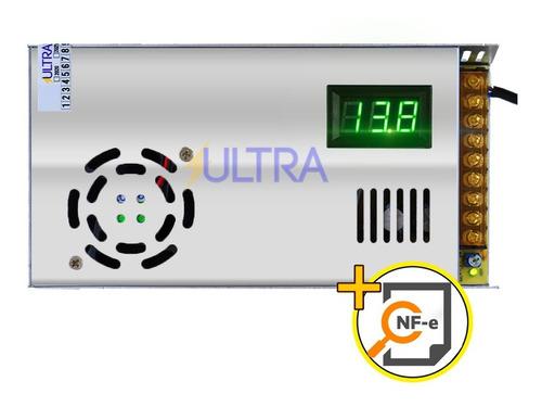 *fonte Automotiva Chaveada 13,8 V 90 Amperes + Extensao Cabo 110v / 220v C Voltimetro Azul Original